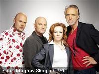Idol 2005. Juryn med Peter Swartling, Daniel Bretiholtz, Kishti Tomita och Claes af Geijerstam.