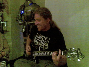 marcus in full action with my new camo-guitarr..I gave the old one away during the ewaster..remember?